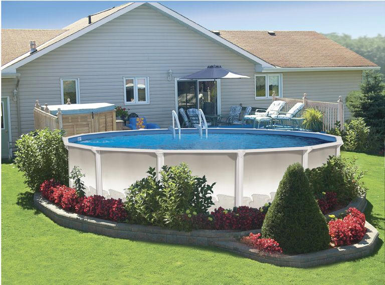above ground pool landscaping ideas pool and landscape - Above Ground Pool Deck Off House